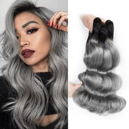 Silver Grey Hair Extensions Australia - Ombre Human Hair Bundles Color 1B Dark Grey  Silver Grey  Pink Brazilian Virgin Body Wave Hair Bundles 10-18 Inch Remy Human Hair extensions