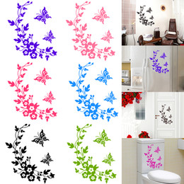 Discount decorative stickers flowers butterflies - Black Butterfly Bathroom Wall Personalized Home Decoration Decor Flower Waterproof vine Wall Decorative Stickers Popular