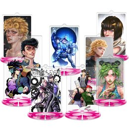Discount anime pendants cosplay - Anime Bizarre Adventure Cosplay Keychains Collectible Desk Acrylic Stand Figures Toys Key Chain Key Ring Charms Pendant