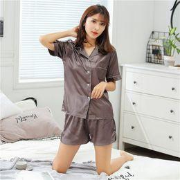 Chinese Pajamas Suits Australia - 2019 Summer Style Women Chinese Satin Silk Pajamas Sets of T-shirt & Shorts Female Superior Sleepwear Nighty Suit