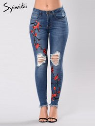 Wholesale flowered skinny jeans resale online - flower Embroidery skinny jeans woman ripped stretch pencil pants Hole Hollow Out Full Length street style streetwear new