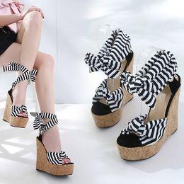 4025d40982 16CM Wedges Sandals Summer Pumps High Heel Female Sandals Stripe Cross  Strap Peep Toe Women Shoes