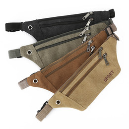 chest pouches UK - Multi-function outdoor sport canvas waist bag men running cycling waist pouch belt phone chest bags 4colors