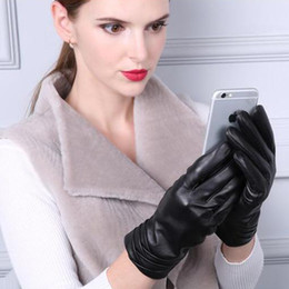 warm leather mittens Australia - Winter Women's Fashion Plus Velvet 100% Genuine Leather Black Sheepskin Gloves Female Casual Fleece Mittens Thick Warm TBWA614 SH190921