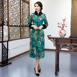 Wholesale Winter Womens Long Jacket Vintage Chinese style Mandarin Collar Dress Lady Coat Slim Dresses Vestido Flowers L XL