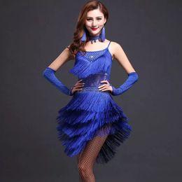 $enCountryForm.capitalKeyWord Australia - Tassel Latin Samba Dance Dress Women Dance Costumes Tango Salsa Latin Style Prom Dress 3 Colors D0969 Lace Rhinestones