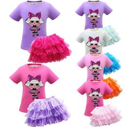 Girls 5t skirt suit sets online shopping - T shirt TUTU Skirt Baby Girls Suits surprise INS Baby Summer Clothing Set Kids Outfits Skirt Tee Set KKA7079