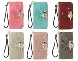 Diamond Id Wallet Australia - 3D Bling Diamond Owl Imprint ID Leather Wallet Case for iphone XS MAX XR 6S 7G 8G PLUS Samsung S10 PLUS S10 LITE A750 A9 2018 J3 J7 2018 US
