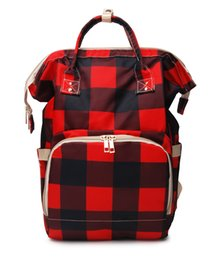 wholesale plaid fabrics Australia - Wholesale Supplier Buffalo Plaid Diaper Backpack Canvas Diaper Mummy Bag Baby Care Diaper Bag Tote DOM-1081276