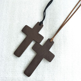 $enCountryForm.capitalKeyWord Australia - New Simple Wooden Cross necklaces For women Wood Crucifix Pendant with Black Brown String Rope Long chains Fashion Jewelry in Bulk