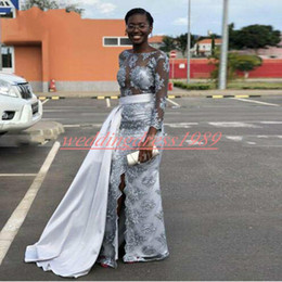White dress prom online shopping - Charming African Lace Sheer Evening Dresses Overskirt Applique Split Celebrity Formal Party Long Sleeve Plus Size Prom Dress Pageant Gowns