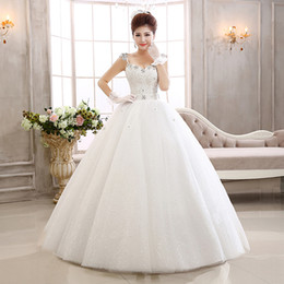 Fantasy pictures online shopping - Wedding dress floor length crystal sequins sexy back design fantasy V neck bride dress wedding dress Robes De Mariée Plus