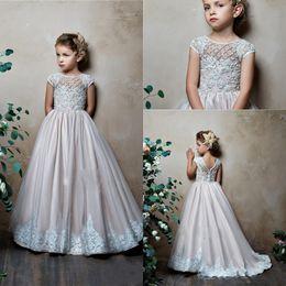 Line Wedding Dress Kids Australia - 2019 Cute A-Line Flower Girls Dresses For Wedding Jewel Neck Short Cap Sleeves Satin Lace Appliques Little Kids Holy First Communion Dress