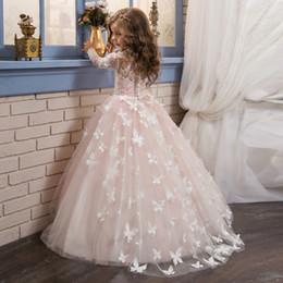 Diseñador niños mariposa primera comunión santa vestidos Princesas mangas largas Niñas Niño Vestidos Vestidos de longitud completa Vestidos de glitz baratos