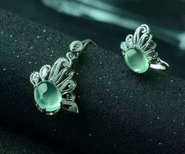 Discount silver butterfly necklace earring set - Natural green prehnite gem jewelry sets natural gemstone ring Pendant Earrings 925 silver Stylish butterfly women party