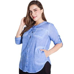45a5b3054a0fb Miaoke Plus Size Tops And Blouses For Women Clothes Nice Sunmer Fashion  Five Points Sleeve Washed Cotton Round Neck 5xl 5xl 6xl CH2