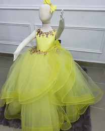 Yellow vintage dresses online shopping - Yellow Cheap Flower Girl Dresses Lace Ball Gown Tulle Little Girl Wedding Dresses Vintage Communion Pageant Dresses Gowns F164