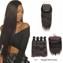 Cheap Remy Hair Bundles Australia - 9A Brazilian Virgin Human Hair Weave 4 Bundles With Closure Straight Body Wave Cheap Peruvian Remy Hair Extensions Bundles With Lace Frontal