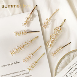 Sweet Cute Gifts Australia - Hot Sale Sweet Cute Korea Imitation Pearl Hair Clip for Women Fashion Letter LOVE KISS Smile Face Hairpins Gold Hair Accessories