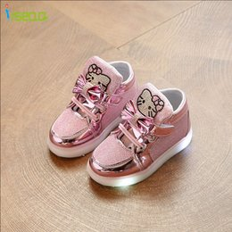 Discount kitty sneakers - Kids girl luminous sneakers cheaper Shoes Spring Hello Kitty Rhinestone glowing Shoes for Girls Princes led sneaker chil