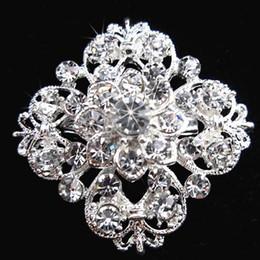 Bridal Brooch Flower UK - Silver Tone Clear Rhinestone Crystal Brooch Flower Girls' Corsage Fashion Brooch Wedding Bridal Bouquet Pins Brooches B634