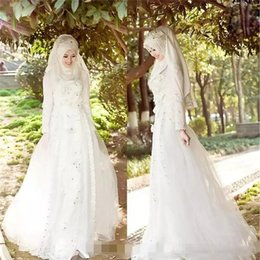 sheer white veil Australia - Muslim Terbaru Wedding Dresses Hijab Veil Sparkly Beads Crystals Tulle Lace Bridal Gowns Long Sleeves Sweep Train Wedding Dresses