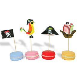 kid friendly cupcakes Australia - 30pcs Lot Pirate Flag Cake Insert Card 2 Designs Blue Ocean Cake Toppers Kids Party Cupcake Decor Baking Supplies 10 Lots ePacket