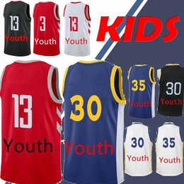 510e2a9fc YOUTH Warriors 30 Curry 35 Durant jerseys Houston jersey Rockets James 13  Harden Chris 3 Paul kid Basketball Jerseys