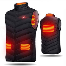 Wholesale heat vest resale online - Men Outdoor USB Heating Electrical Vest Winter Sleeveless Heated Jacket Cold Proof Heating Clothes Security Intelligent Vests