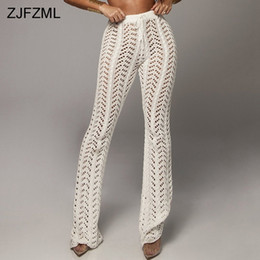 white cotton drawstring pants women Canada - Zjfzml Solid Color Crochet Beach Pants Women High Waist Hollow Out Knitted Trousers Autumn Cotton See Through Wide Leg Pantalon Y19071801