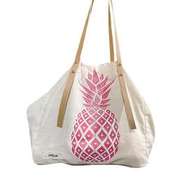 $enCountryForm.capitalKeyWord Australia - 15pcs Shopping Bags Fashion Women Canvas Pineapple Print Handbag Shoulder Bags Lady Hasp tote bag