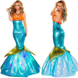 MerMaid woMan costuMes online shopping - Halloween Mermaids Sexy Theme Costume Adult Skinny Long Womens Dresses Fashion Festival Party Clothes
