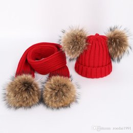 Wholesale Baby Kids four cm Real Fur Pompom Ball Knitted Beanie Hats Scarf Set Scarves For Children Boys Girls Winter warm suit