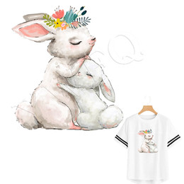 shirt heat NZ - Patch Iron On Clothes Cute Rabbit Stickers Heat Transfer Parches T-shirt Dresses Badges Washable DIY Sticker Provide Custom Order