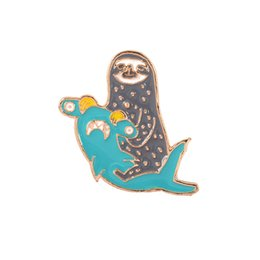 shark accessories UK - Sloth and Shark Brooch Animal Alloy Badges for Kids Backpack Hard Enamel Pin Buckle Collection Jewelry Gift Bag Jean Denim Coat Accessory