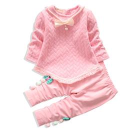 $enCountryForm.capitalKeyWord Australia - 2019 New Spring Autumn Girls Clothing Set Children Suit Baby Pure Cotton Necklace T Shirt Long Sleeve Pants 2Pcs sets Tracksuits