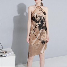fairy style dresses Australia - The Fairy Skirt Chic Gentle European And American Hot Style Dress Embroidery Lotus Net Satin Texture Dress