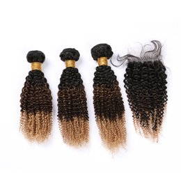 Honey brown Hair online shopping - B Ombre Kinky Curly Hair Bundles with Lace Closure x4 Black Brown Honey Blonde Tone Ombre Indian Human Hair Weave Bundles
