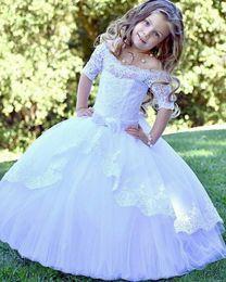 $enCountryForm.capitalKeyWord Australia - Girl Wedding Bridesmaid Dresses Summer White Long Tulle Evening Party Princess Costume Lace Teenage Flower Girls Clothes