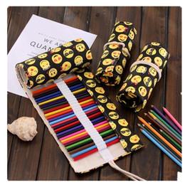 $enCountryForm.capitalKeyWord Australia - kawaii emoji Pencil Case Pouch Colorful Canvas Penalty School Cute Stationery Wrap Roll Up Pen Bag Student Gift 36 48 72 Holes