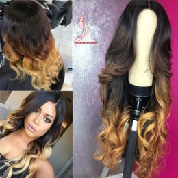 $enCountryForm.capitalKeyWord Australia - Body wave Full Lace Human Hair Wigs for Black Women Brazilian hair Three Tone #1b 4 27 ombre color Lace Front Wig