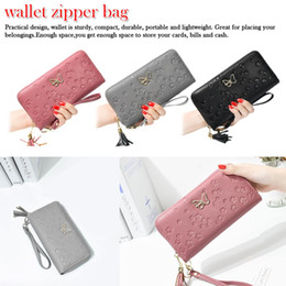 $enCountryForm.capitalKeyWord Australia - Design large capacity zipper Ladies Wallet Long Clutch Purse Fashion PU leather butterfly long wallet Butterfly Embossed Flower