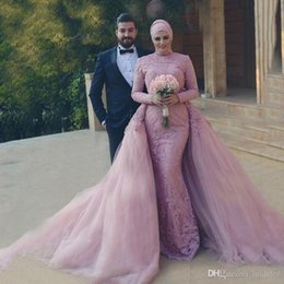 muslim hijab picture UK - Pink Muslim Long Sleeve Evening Dresses 2020 Mermaid Tulle Lace Islamic Saudi Arabic Hijab Beaded Formal Evening Gown With Detachable Train