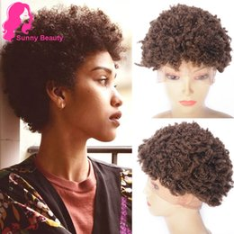 Spiral Curls 4 # Afro Perücken für schwarze Frauen, kurze Afro Kinky Curly Lace Frontal Perücken für schwarze Frau, Hellbraun 6 Zoll charmante Queen Gaga