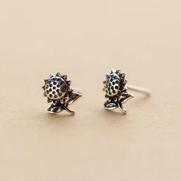 Thai earrings online shopping - LOYE Sterling Silver Vintage Thai Silver Sunflower Earring Stud Ethnic Style Flower Earrings for Women Jewelry