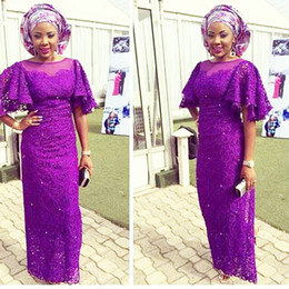 Nigerian White Lace Short Dress Styles Australia - Purple African Evening Dresses Long African Women Style Evening Dress Flared Half Sleeves Nigerian Africa Evening Party Dress