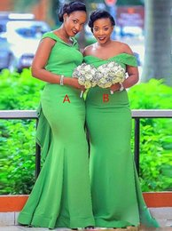 Long sLeeve white evening dress gown online shopping - Green Mermaid Bridesmaid Dresses Off Shoulder Sweep Train Beads Ruffles Plus Size Garden Country Wedding Guest Evening Prom Gowns Cheap