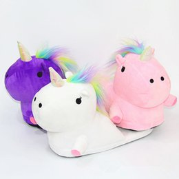 ShoeS pluSh toy Slipper online shopping - LED grow lighting rainbow Unicorn Plush Toy Cartoon unicorn indoor plush slippers Winter Warm Indoor Slippers Shoes for teenage