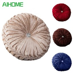 Red Office Chairs Australia - Velvet + PE Foam Round Chair Cushion Seat Pad For Patio Home Car Office Floor Pillow Insert Filling Memory Foam Tatami Cushion