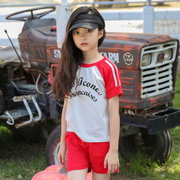 Short T Shirt Model Girl Australia - Girls Sports Suit Shorts 2019 Summer Explosion Models Big Children Cotton T-shirt Two-piece Korean Version of The Factory